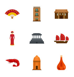 Vietnam tradition icon set flat style vector