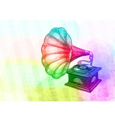 Vintage Gramophone in iridescen colours vector