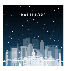 Winter night in baltimore night city in flat vector