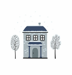 winter urban landscape card with houses and trees vector image
