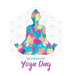 Yoga day card woman in lotus pose vector