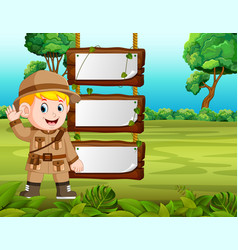 young boy adventure with blank wood background vector image