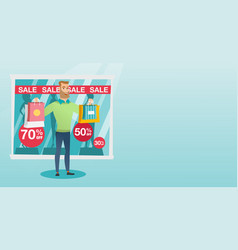 Young caucasian man shopping on sale vector