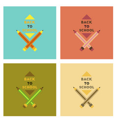 Assembly flat icons back to school pencil vector
