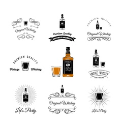 Bottle and Glasses Alcohol Elements Tequila vector image