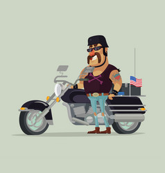 fat old happy smiling man biker character standing vector image