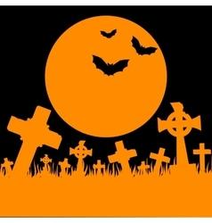 Orange moon cemetery and bats vector image vector image