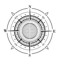 Radar compass rose with globe vector image