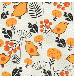 Seamless pattern with orange birds vector image