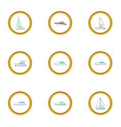 vessel icons set cartoon style vector image