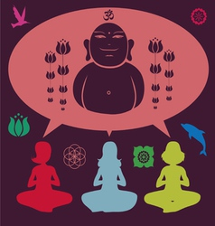 Yoga meditation set vector image vector image