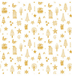 christmas doodles seamless pattern vector image vector image