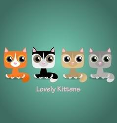 Cute funny lovely kittens vector image