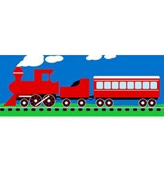 Cute simple red steam train on rail tracks vector image