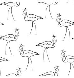 exotic flamingo birds crown line drawing pattern vector image vector image