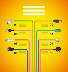 Infographics with plug wire cables on yellow vector image vector image