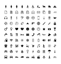 large set of universal different simple black vector image vector image