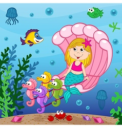 mermaid swims in seashell vector image