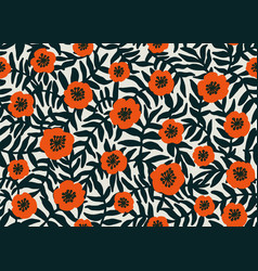 seamless floral pattern retro style red poppies vector image