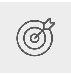 Arrow hit the target thin line icon vector