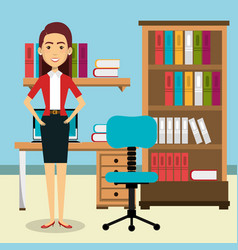 businesswoman in the office avatar character icon vector image
