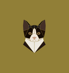 cat head sign in abstract polygonal style vector image vector image