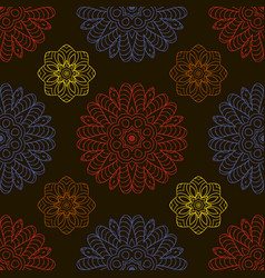 color seamless pattern ethnic ornament hand drawn vector image vector image