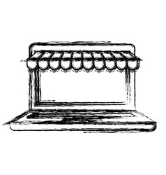 monochrome blurred silhouette of laptop computer vector image