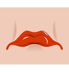Sad mouth Sorrowful red lips on white background vector image