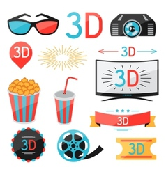 Set of movie design elements and cinema icons vector image vector image