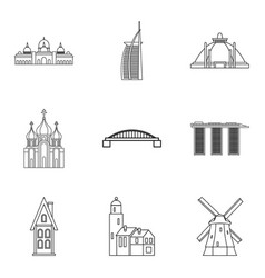 tourist site icons set outline style vector image vector image