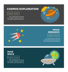 cosmos exploration and galaxy space research flat vector image vector image