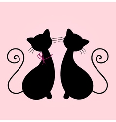 Cute Cats couple sitting together - silhouette vector image vector image