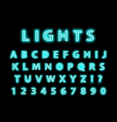 modern trendy blue neon alphabet on a black vector image vector image