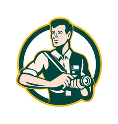 Photographer Holding DSLR Camera Retro vector image