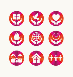 set of christian symbols vector image vector image