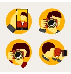 Set of modern style photographer icons vector image