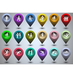 Symbolic life form of colorful GPS icons vector image