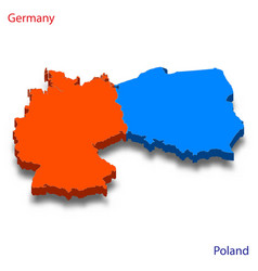 3d isometric map germany and poland relations vector