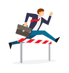 Achieving goal businessman jumping over hurdle vector