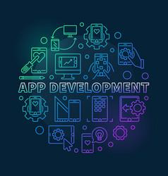 App development round colored outline vector