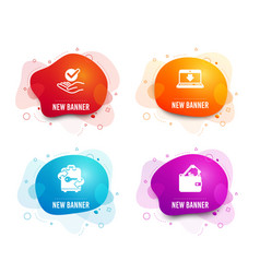 Approved internet downloading and luggage icons vector