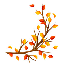 Autumn branch of tree and yellow leaves seasonal vector