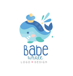 Babe whale logo design emblem can be used vector
