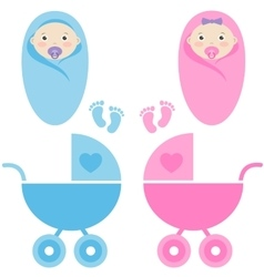 Baby girl boy and carriage vector