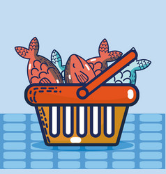 Basket with seafood super market products vector