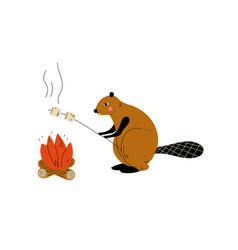 Beaver roasting marshmallows on bonfire animal vector
