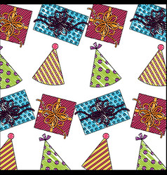 birthday gift boxes with party hats pattern vector image