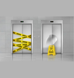 Broken elevator closed for repair realistic vector