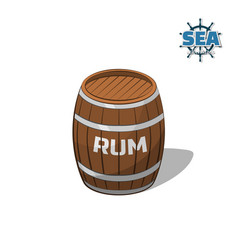 Brown barrel of rum on white background vector